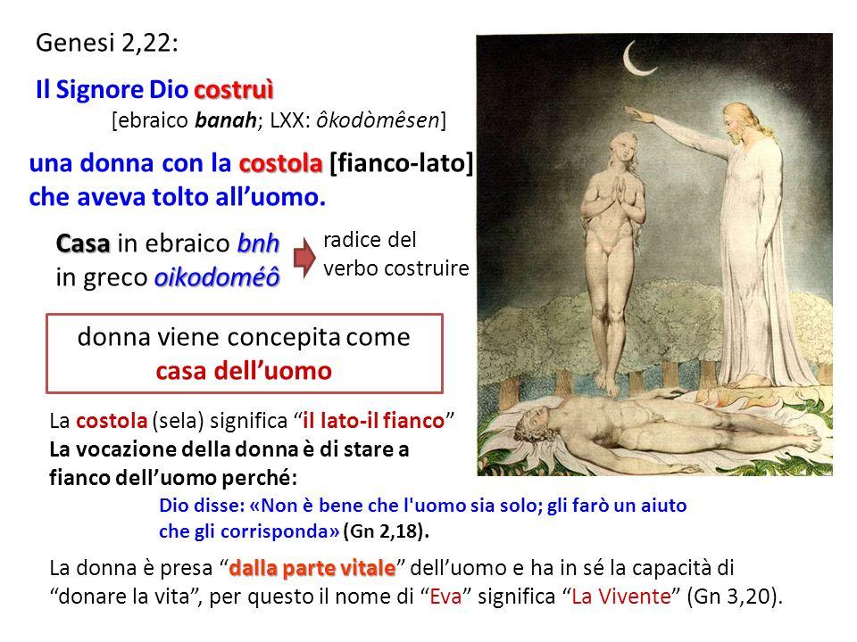 Genesi 2,22: dalla parte vitale La donna è presa dalla parte vitale delluomo e ha in sé la capacità di donare la vita, per questo il nome di Eva significa La Vivente (Gn 3,20).