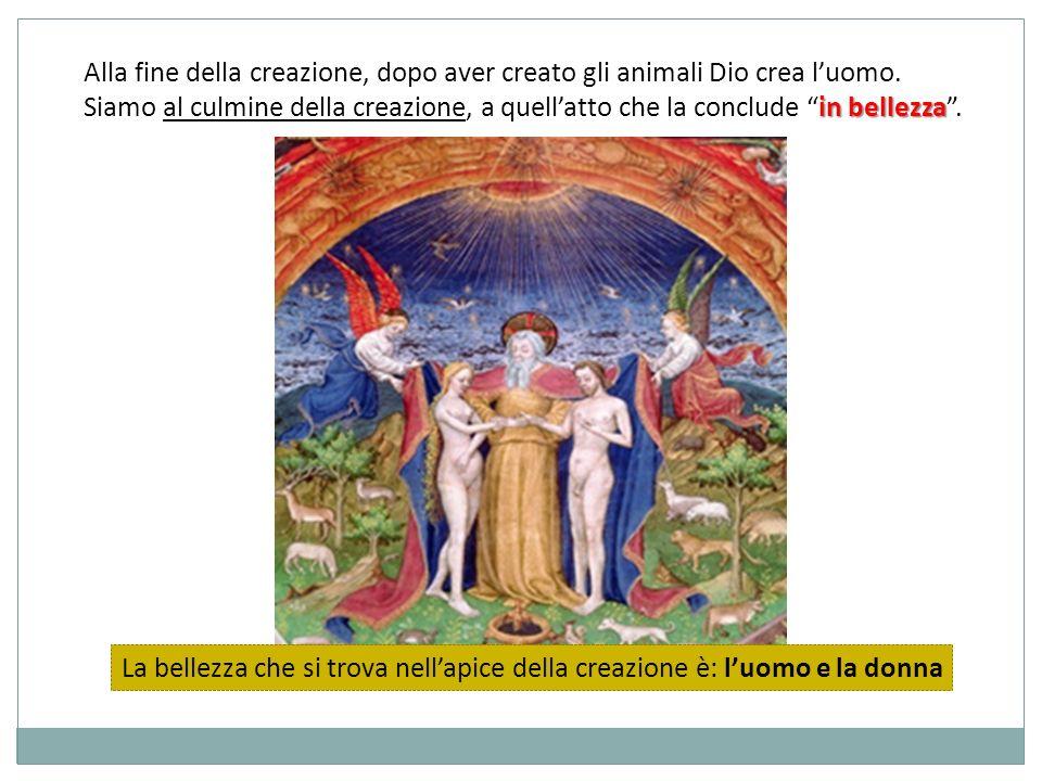 Alla fine della creazione, dopo aver creato gli animali Dio crea luomo.