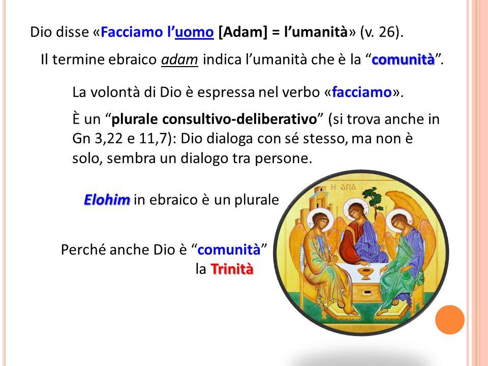 Dio disse «Facciamo luomo [Adam] = lumanità» (v.26).