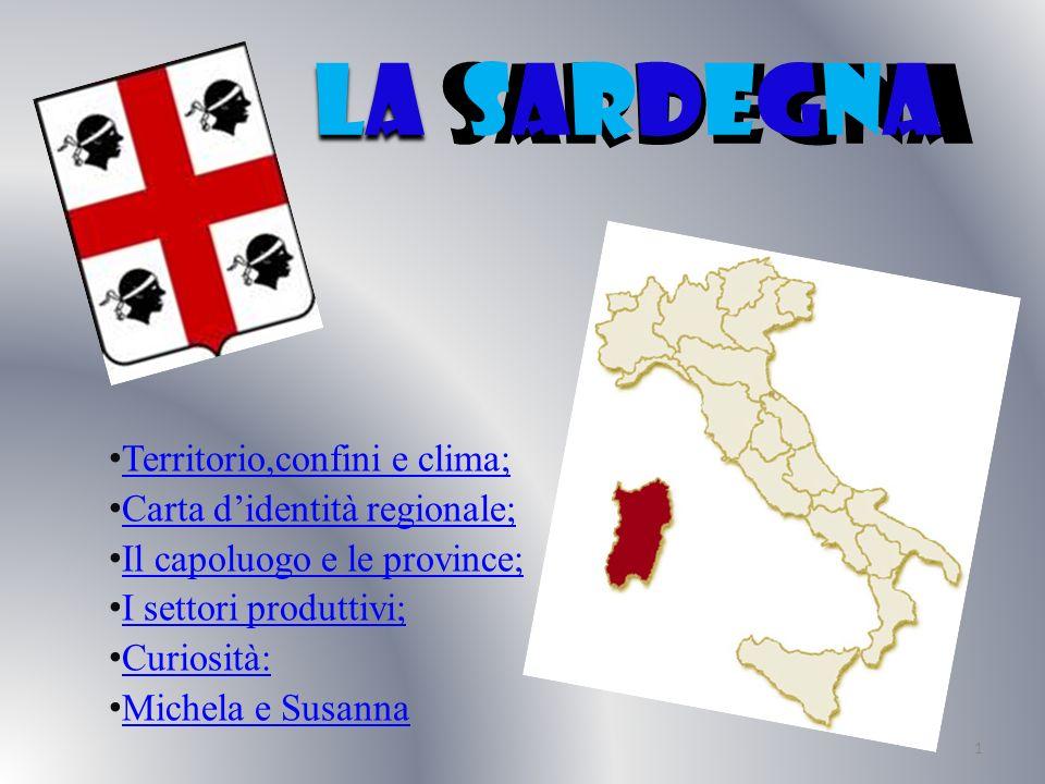 territorio,confini e clima La Sardegna è prevalentemente collinare (68%),ci sono alcune zone pianeggianti (18%) e altre montuose (14%).I fiumi,con un carattere torrentizio,sono ricchi dacqua in inverno e quasi asciutti in estate perché in inverno alimentati da piogge.