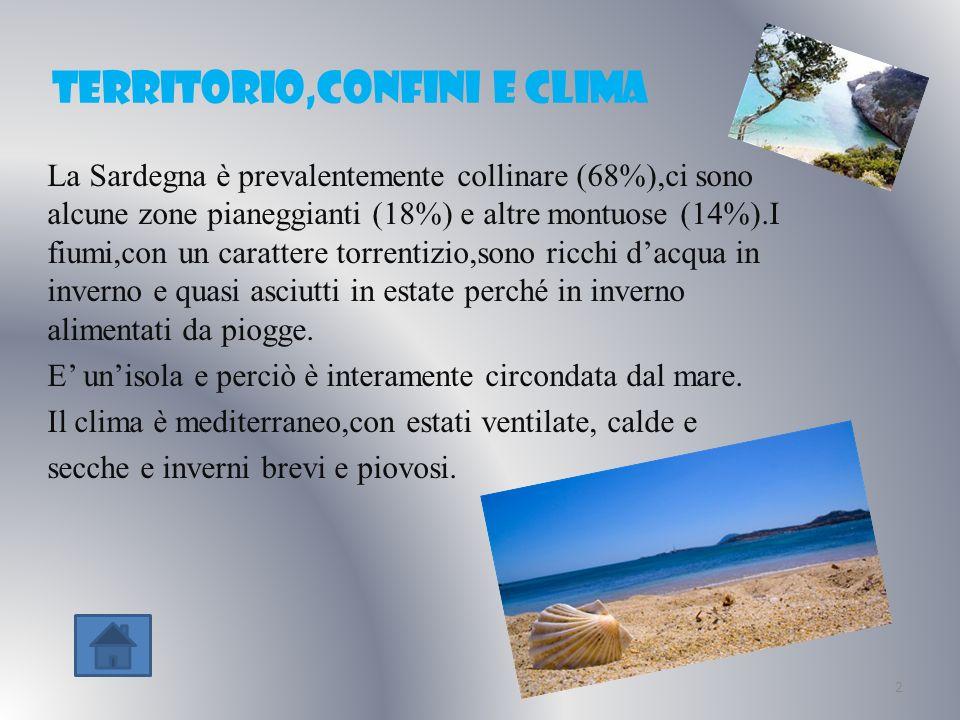 territorio,confini e clima La Sardegna è prevalentemente collinare (68%),ci sono alcune zone pianeggianti (18%) e altre montuose (14%).I fiumi,con un