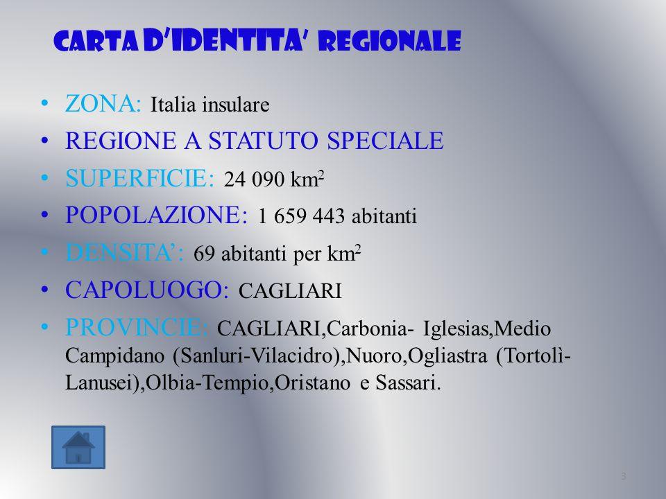 Carta didentita regionale ZONA: Italia insulare REGIONE A STATUTO SPECIALE SUPERFICIE: 24 090 km 2 POPOLAZIONE: 1 659 443 abitanti DENSITA: 69 abitant