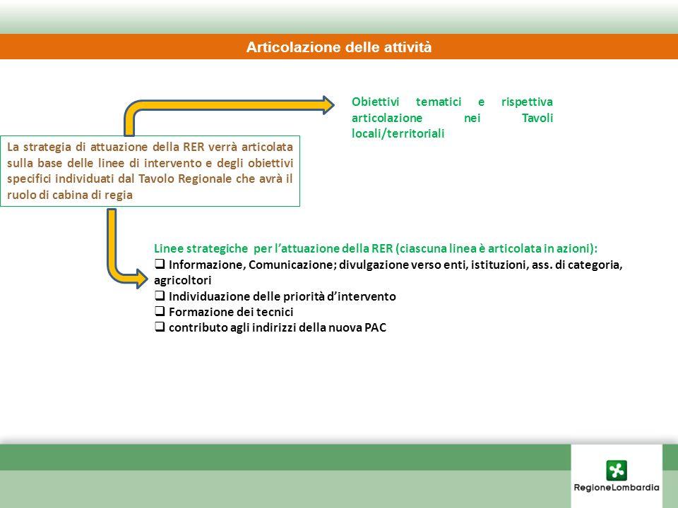 Articolazione delle attività Linee strategiche per lattuazione della RER (ciascuna linea è articolata in azioni): Informazione, Comunicazione; divulga