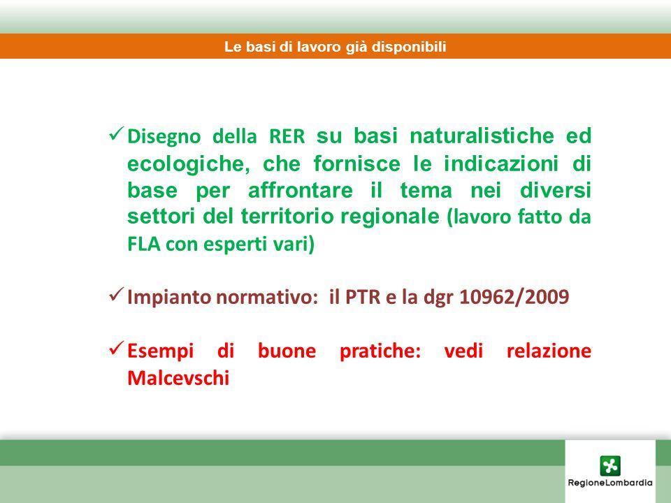 Disegno della RER su basi naturalistiche ed ecologiche, che fornisce le indicazioni di base per affrontare il tema nei diversi settori del territorio