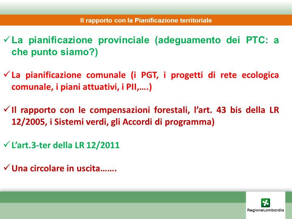 La pianificazione provinciale (adeguamento dei PTC: a che punto siamo?) La pianificazione comunale (i PGT, i progetti di rete ecologica comunale, i pi