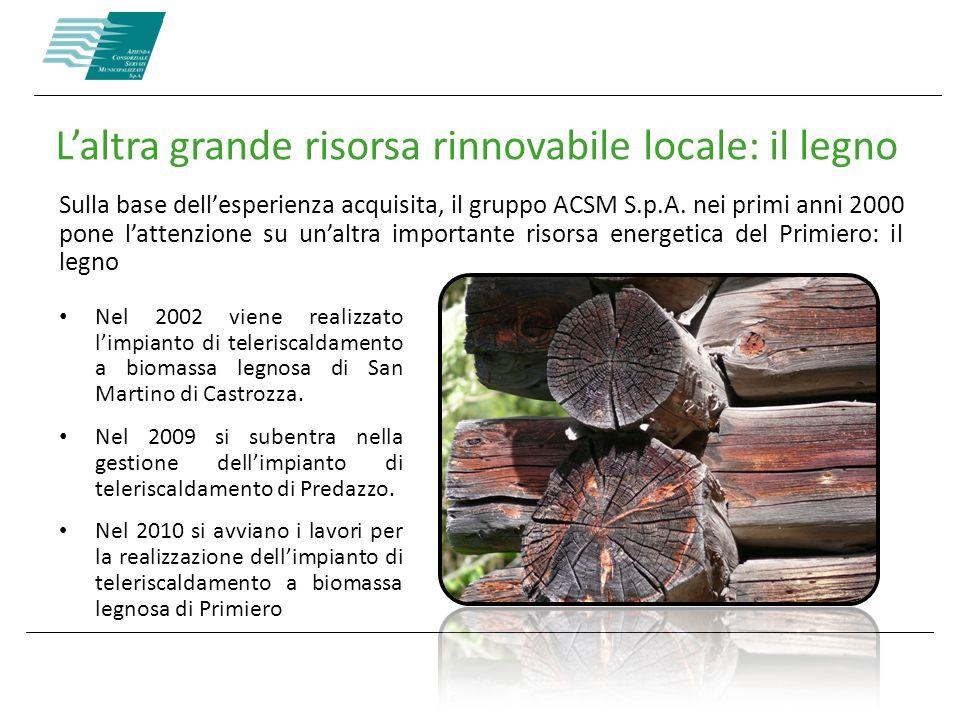 Laltra grande risorsa rinnovabile locale: il legno Sulla base dellesperienza acquisita, il gruppo ACSM S.p.A. nei primi anni 2000 pone lattenzione su