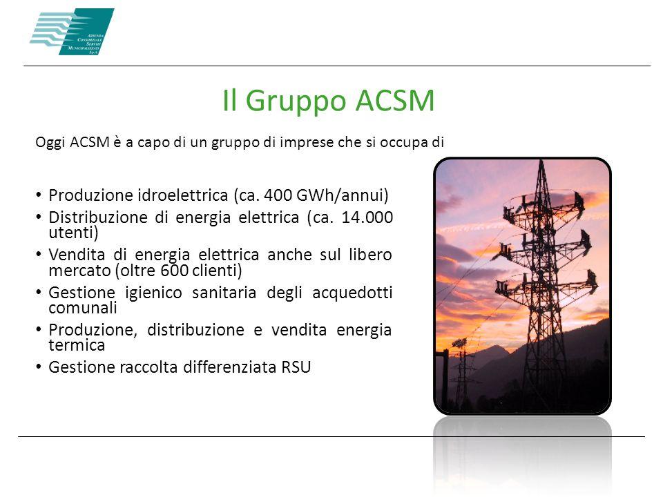 Oggi ACSM è a capo di un gruppo di imprese che si occupa di Il Gruppo ACSM Produzione idroelettrica (ca. 400 GWh/annui) Distribuzione di energia elett