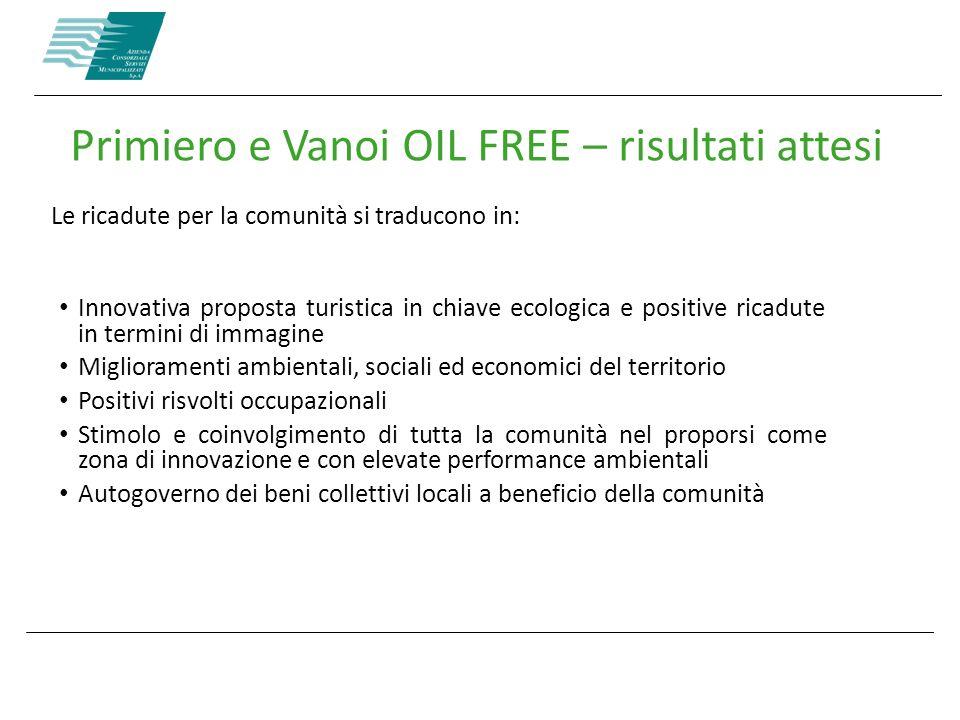 Le ricadute per la comunità si traducono in: Primiero e Vanoi OIL FREE – risultati attesi Innovativa proposta turistica in chiave ecologica e positive