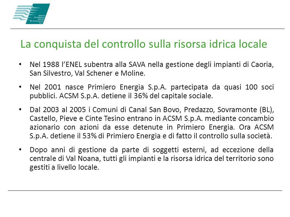 La conquista del controllo sulla risorsa idrica locale Nel 1988 lENEL subentra alla SAVA nella gestione degli impianti di Caoria, San Silvestro, Val S
