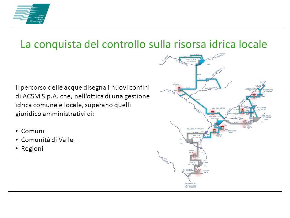 La conquista del controllo sulla risorsa idrica locale Il percorso delle acque disegna i nuovi confini di ACSM S.p.A. che, nellottica di una gestione