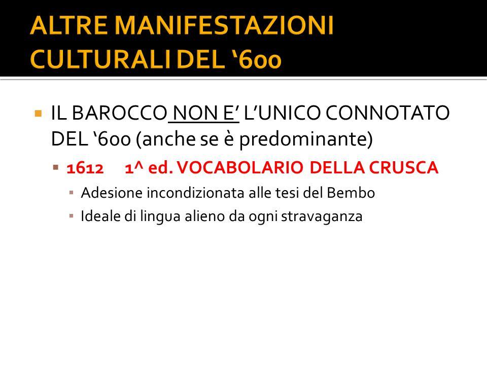 IL BAROCCO NON E LUNICO CONNOTATO DEL 600 (anche se è predominante) 16121^ ed. VOCABOLARIO DELLA CRUSCA Adesione incondizionata alle tesi del Bembo Id