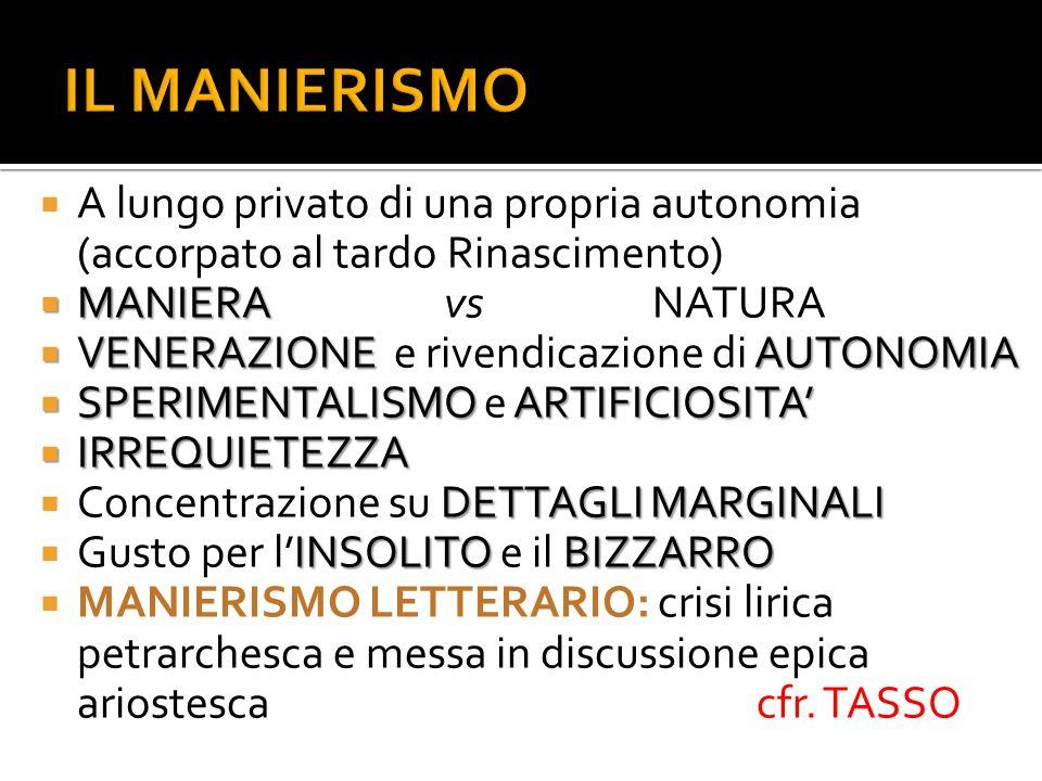 A lungo privato di una propria autonomia (accorpato al tardo Rinascimento) MANIERA MANIERAvsNATURA VENERAZIONE AUTONOMIA VENERAZIONE e rivendicazione