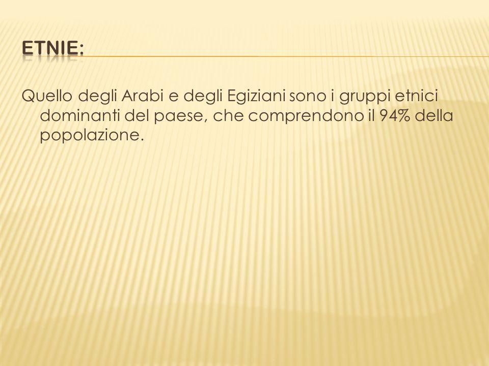 Quello degli Arabi e degli Egiziani sono i gruppi etnici dominanti del paese, che comprendono il 94% della popolazione.
