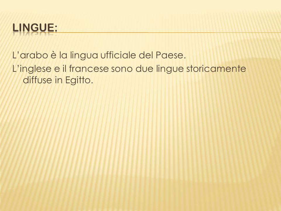 Larabo è la lingua ufficiale del Paese. Linglese e il francese sono due lingue storicamente diffuse in Egitto.