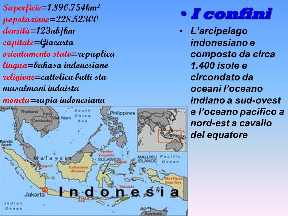 Il territorio lIndonesia e un grande arcipelago che affiora dalle acque dell oceano indiano e dell oceano pacifico fra lIndocina e lAustralia.e costituito da5 grandi isole Giava borneo Sumatra e la nuova Guinea larcipelago generalmente montuoso e ricchissimo di vulcani.