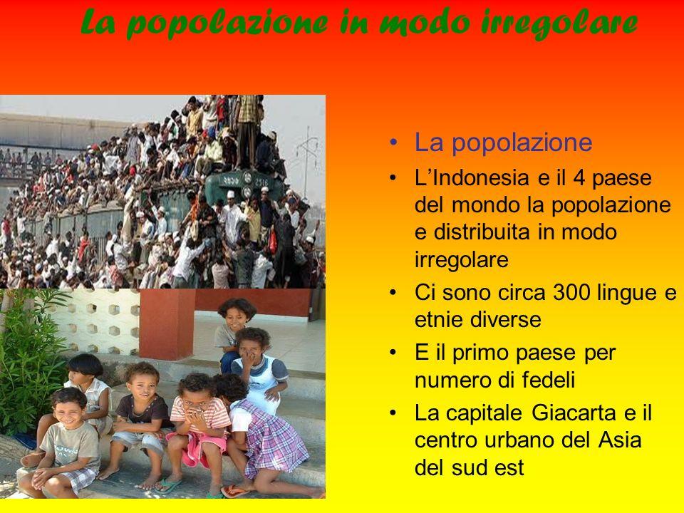 La popolazione in modo irregolare La popolazione LIndonesia e il 4 paese del mondo la popolazione e distribuita in modo irregolare Ci sono circa 300 l