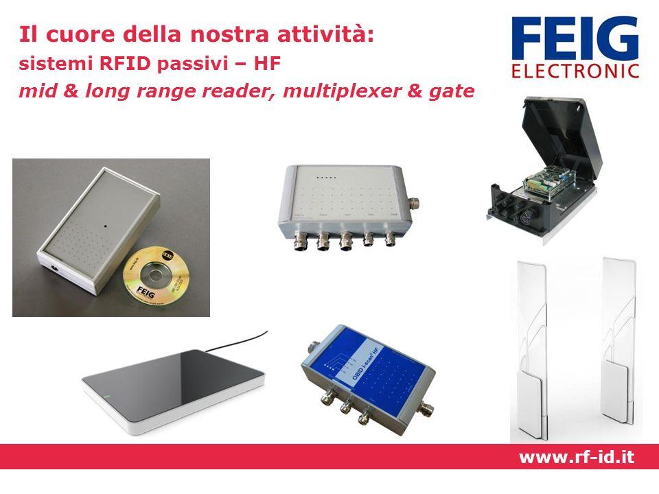 Il cuore della nostra attività: sistemi RFID passivi – HF mid & long range reader, multiplexer & gate www.rf-id.it