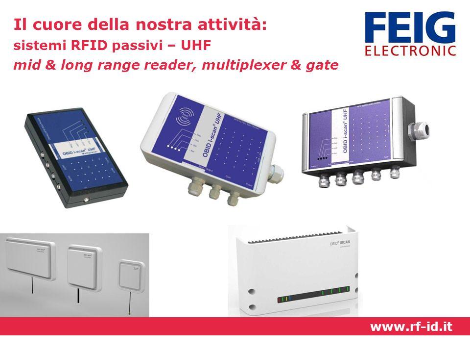 Il cuore della nostra attività: sistemi RFID passivi – UHF mid & long range reader, multiplexer & gate www.rf-id.it
