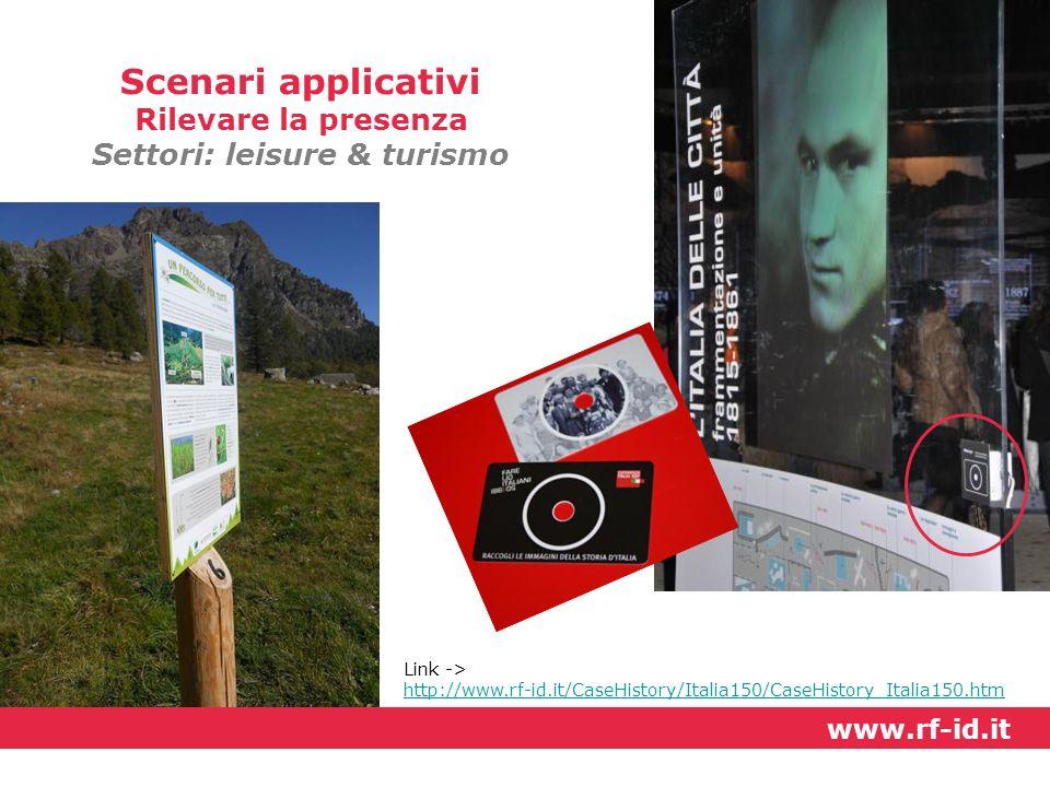 Link -> http://www.rf-id.it/CaseHistory/Italia150/CaseHistory_Italia150.htm www.rf-id.it Scenari applicativi Rilevare la presenza Settori: leisure & t