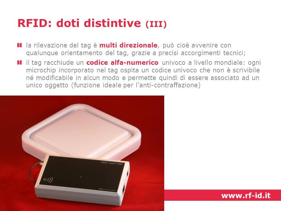 la rilevazione del tag è multi direzionale, può cioè avvenire con qualunque orientamento del tag, grazie a precisi accorgimenti tecnici; il tag racchi
