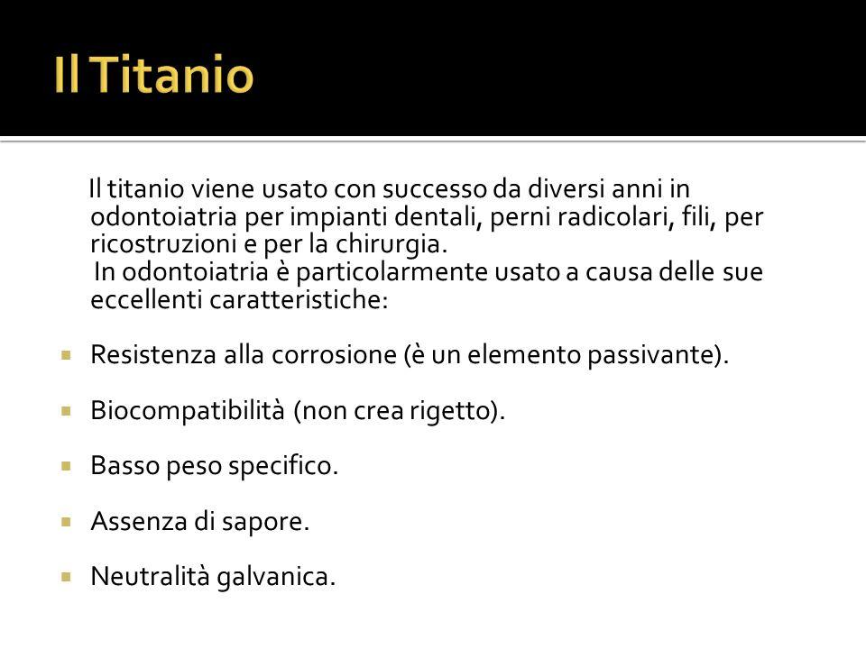 Il titanio viene usato con successo da diversi anni in odontoiatria per impianti dentali, perni radicolari, fili, per ricostruzioni e per la chirurgia