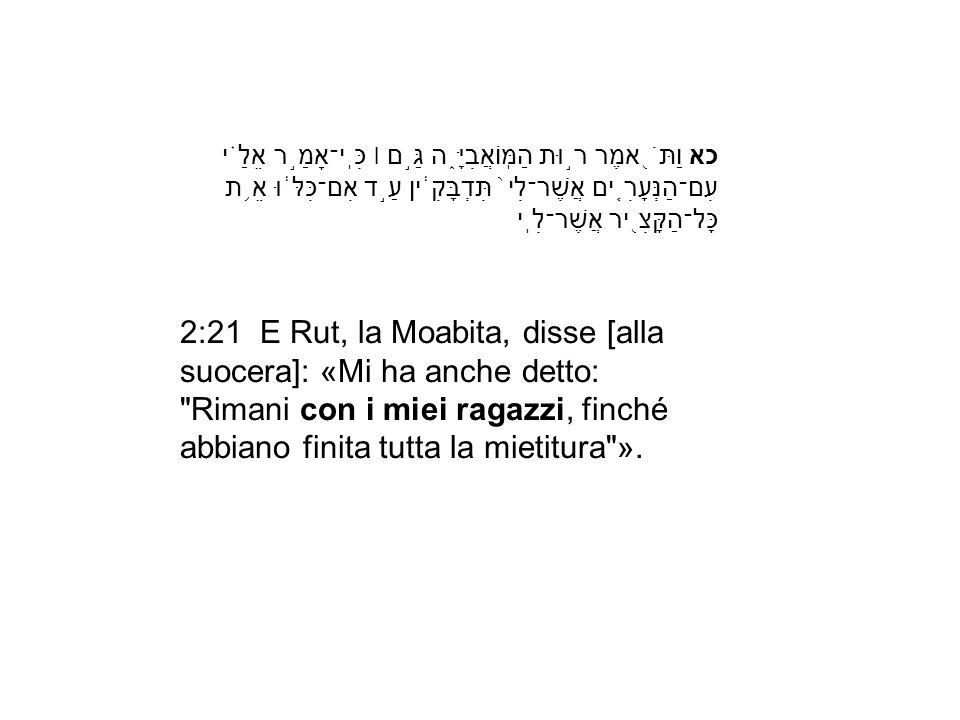 2:21 E Rut, la Moabita, disse [alla suocera]: «Mi ha anche detto: