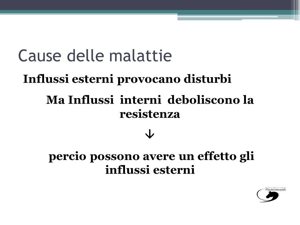 Cause delle malattie Influssi esterni provocano disturbi Ma Influssi interni deboliscono la resistenza percio possono avere un effetto gli influssi es
