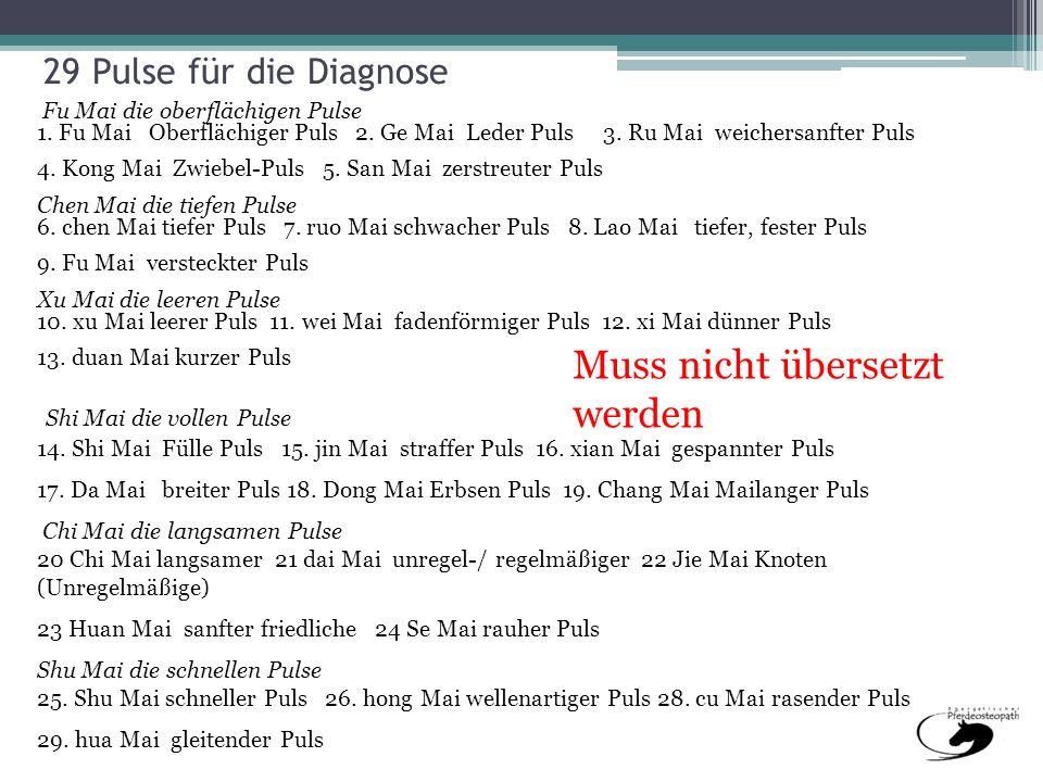 29 Pulse für die Diagnose Fu Mai die oberflächigen Pulse 1. Fu Mai Oberflächiger Puls 2. Ge Mai Leder Puls 3. Ru Mai weichersanfter Puls 4. Kong Mai Z