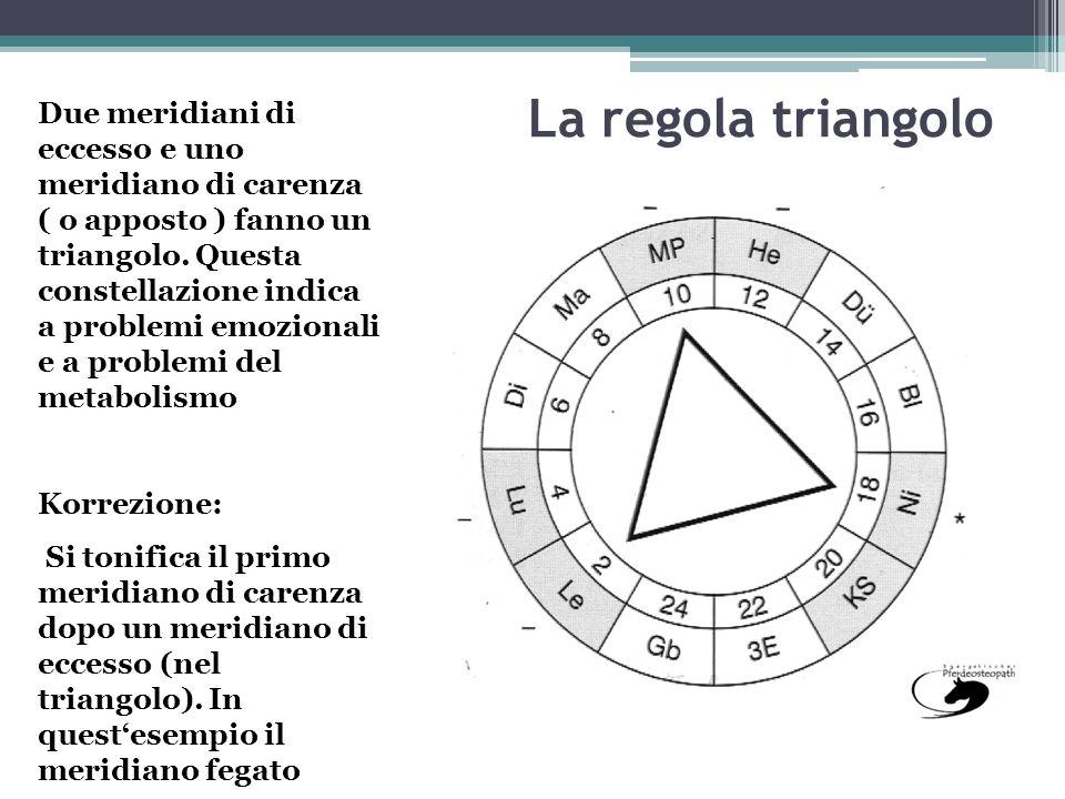 La regola triangolo Due meridiani di eccesso e uno meridiano di carenza ( o apposto ) fanno un triangolo. Questa constellazione indica a problemi emoz