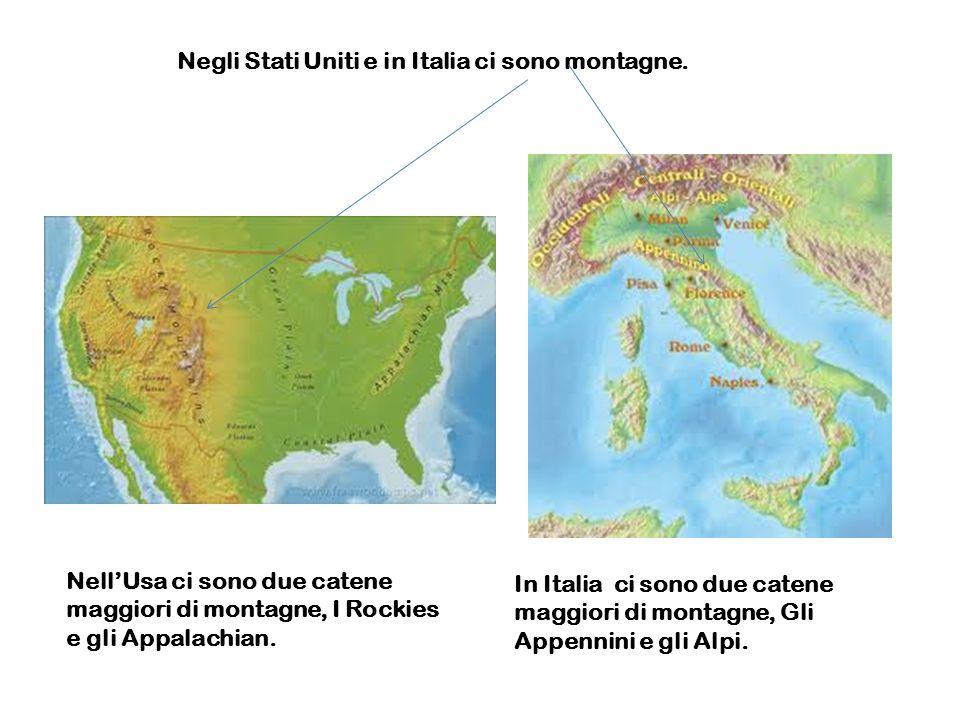 Negli Stati Uniti e in Italia ci sono montagne. NellUsa ci sono due catene maggiori di montagne, I Rockies e gli Appalachian. In Italia ci sono due ca