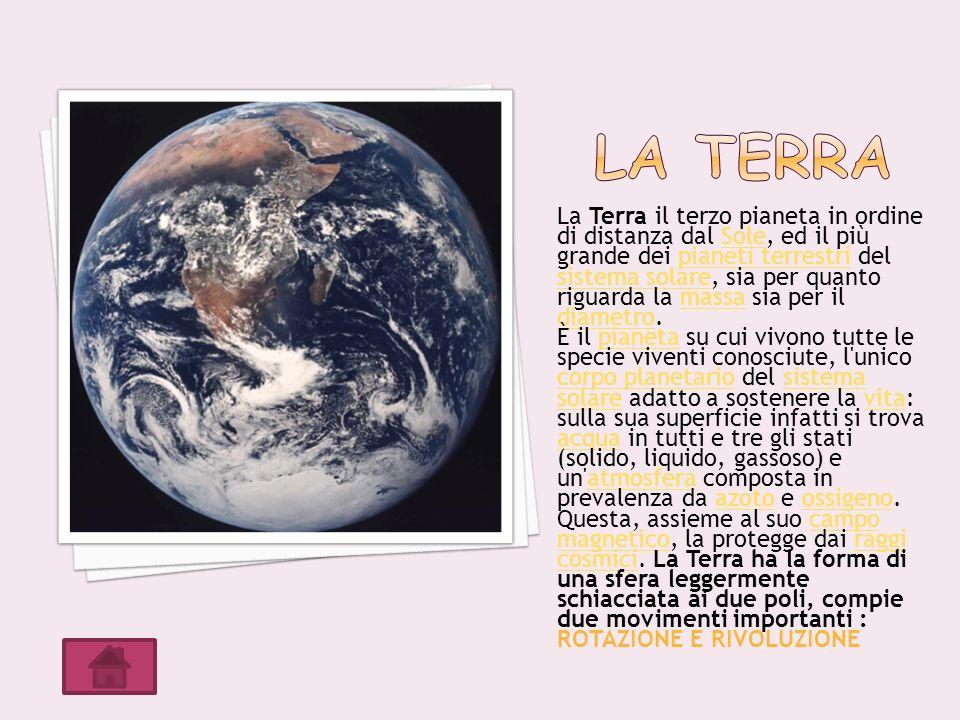 La Terra il terzo pianeta in ordine di distanza dal Sole, ed il più grande dei pianeti terrestri del sistema solare, sia per quanto riguarda la massa