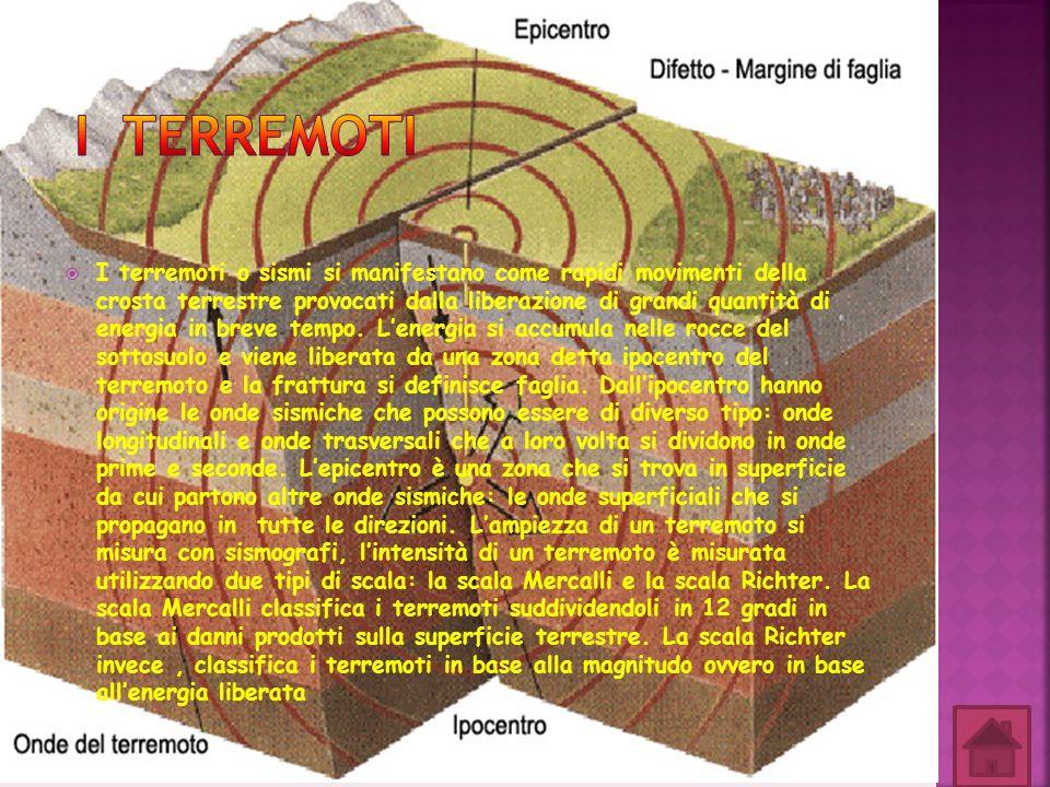 I terremoti o sismi si manifestano come rapidi movimenti della crosta terrestre provocati dalla liberazione di grandi quantità di energia in breve tem