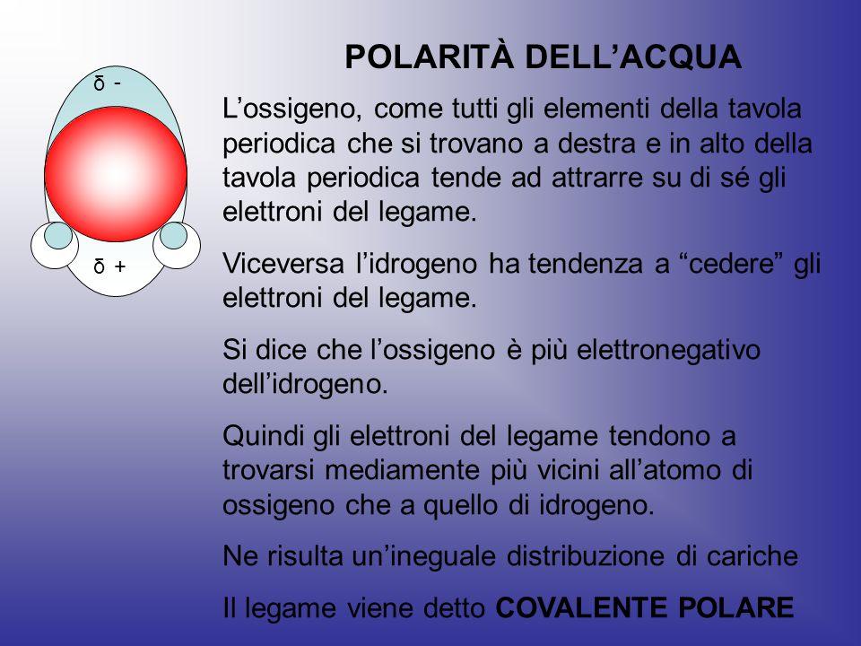 + - δ δ POLARITÀ DELLACQUA Lossigeno, come tutti gli elementi della tavola periodica che si trovano a destra e in alto della tavola periodica tende ad