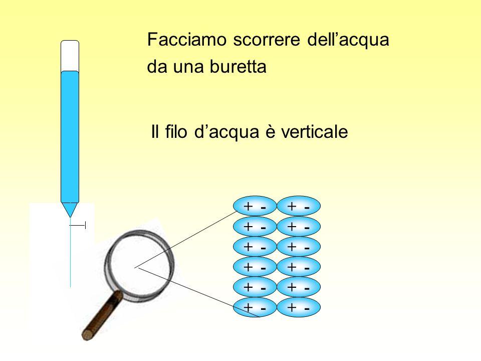 + - Il filo dacqua è verticale Facciamo scorrere dellacqua da una buretta