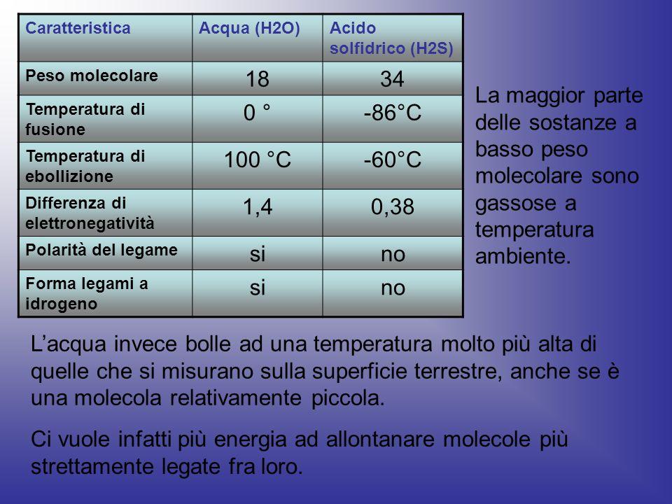 CaratteristicaAcqua (H2O)Acido solfidrico (H2S) Peso molecolare 1834 Temperatura di fusione 0 °-86°C Temperatura di ebollizione 100 °C-60°C Differenza