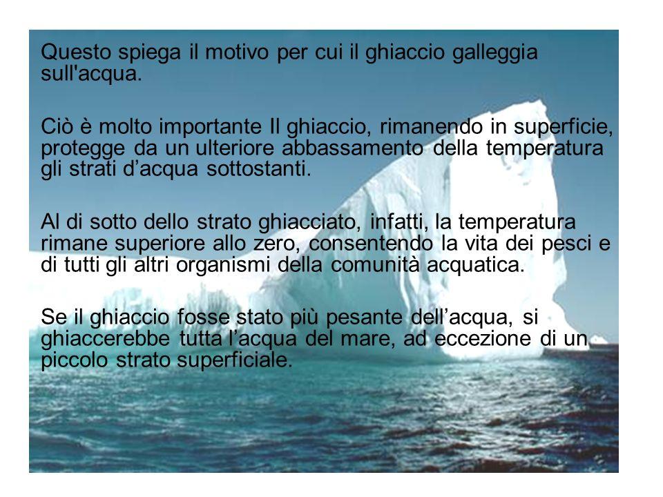 Questo spiega il motivo per cui il ghiaccio galleggia sull'acqua. Ciò è molto importante Il ghiaccio, rimanendo in superficie, protegge da un ulterior