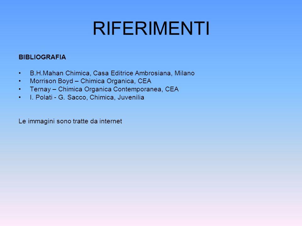 RIFERIMENTI BIBLIOGRAFIA B.H.Mahan Chimica, Casa Editrice Ambrosiana, Milano Morrison Boyd – Chimica Organica, CEA Ternay – Chimica Organica Contempor