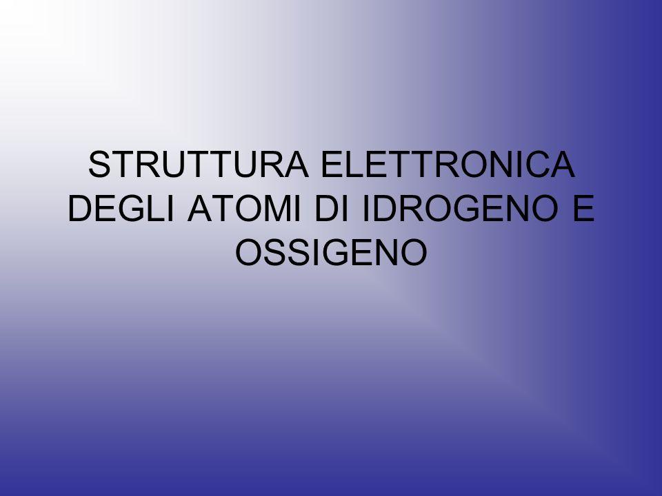 STRUTTURA ELETTRONICA DEGLI ATOMI DI IDROGENO E OSSIGENO