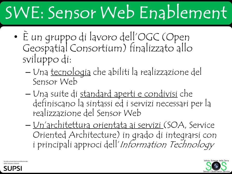 SWE: Sensor Web Enablement È un gruppo di lavoro dellOGC (Open Geospatial Consortium) finalizzato allo sviluppo di: – Una tecnologia che abiliti la re