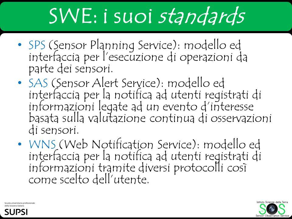 SWE: i suoi standards SPS (Sensor Planning Service): modello ed interfaccia per lesecuzione di operazioni da parte dei sensori. SAS (Sensor Alert Serv