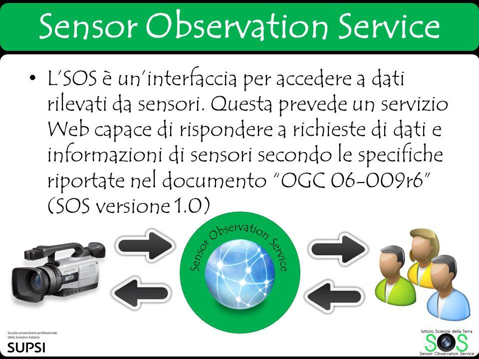 Sensor Observation Service LSOS è uninterfaccia per accedere a dati rilevati da sensori. Questa prevede un servizio Web capace di rispondere a richies