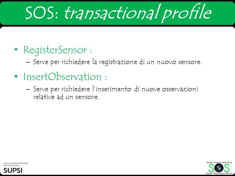 SOS: transactional profile RegisterSensor : – Serve per richiedere la registrazione di un nuovo sensore. InsertObservation : – Serve per richiedere li
