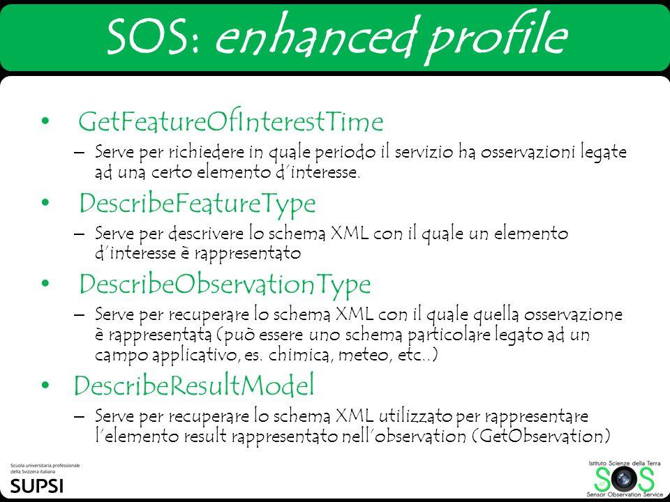 SOS: enhanced profile GetFeatureOfInterestTime – Serve per richiedere in quale periodo il servizio ha osservazioni legate ad una certo elemento dinter