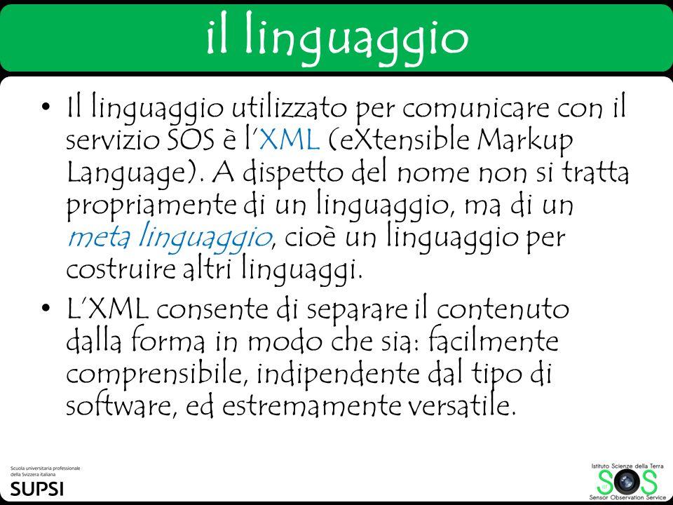 il linguaggio Il linguaggio utilizzato per comunicare con il servizio SOS è lXML (eXtensible Markup Language). A dispetto del nome non si tratta propr