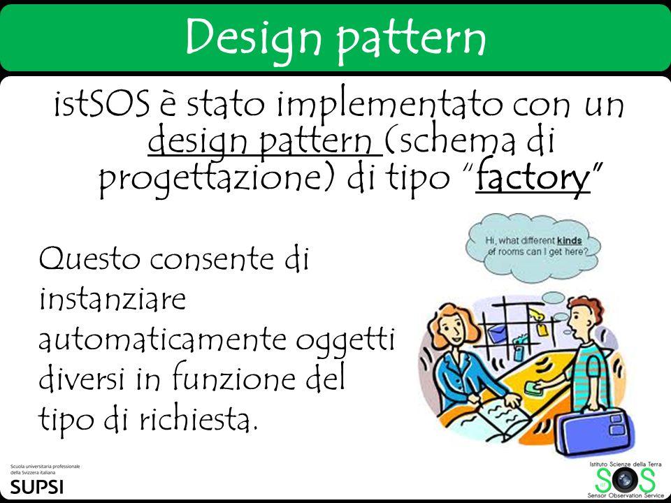 Design pattern istSOS è stato implementato con un design pattern (schema di progettazione) di tipo factory Questo consente di instanziare automaticame