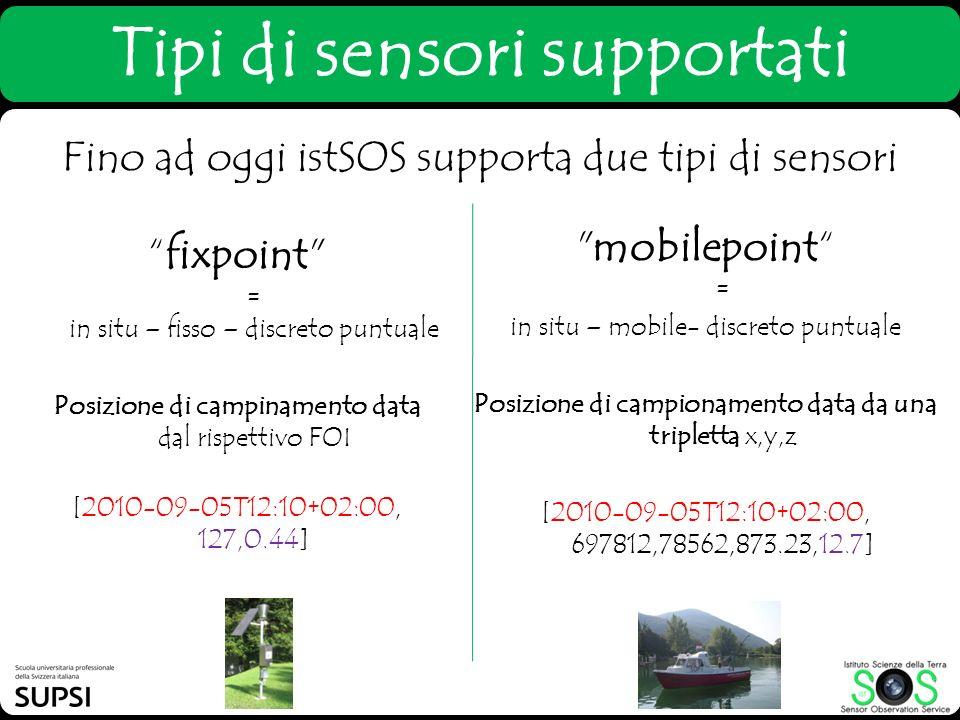 Fino ad oggi istSOS supporta due tipi di sensori Tipi di sensori supportati fixpoint
