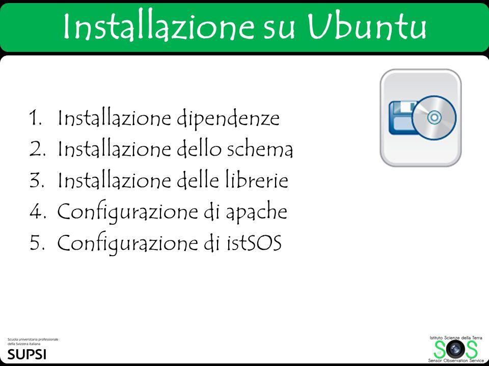 1.Installazione dipendenze 2.Installazione dello schema 3.Installazione delle librerie 4.Configurazione di apache 5.Configurazione di istSOS Installaz