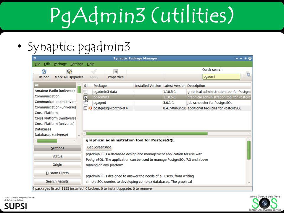 Synaptic: pgadmin3 PgAdmin3 (utilities)