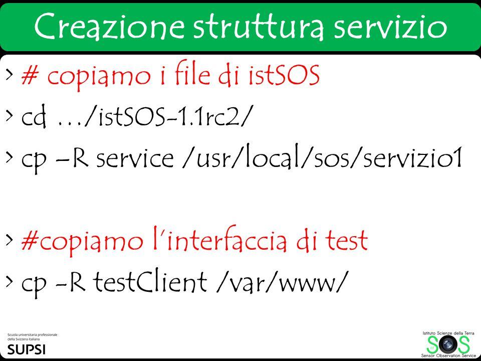 > # copiamo i file di istSOS > cd …/ istSOS-1.1rc2 / > cp –R service /usr/local/sos/servizio1 > #copiamo linterfaccia di test > cp -R testClient /var/