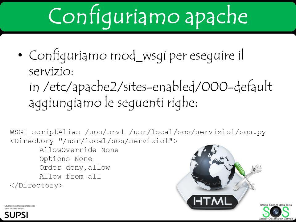Configuriamo apache Configuriamo mod_wsgi per eseguire il servizio: in /etc/apache2/sites-enabled/000-default aggiungiamo le seguenti righe: WSGI_scri